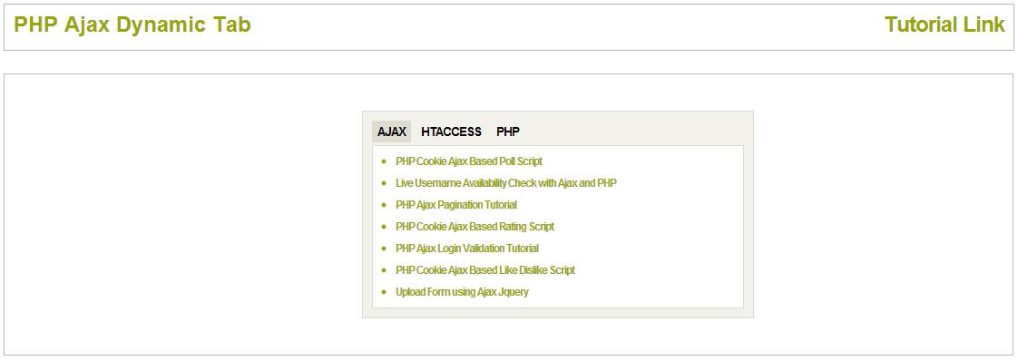PHP Ajax Dynamic Tab