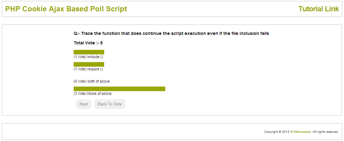 PHP Cookie Ajax Based Poll Script
