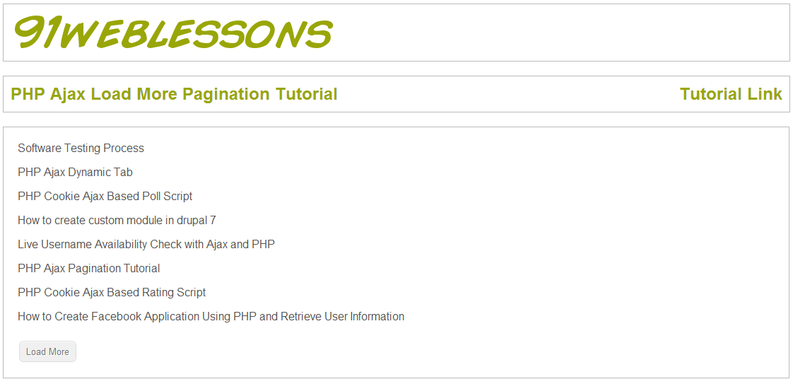 PHP Ajax Load More Pagination Tutorial