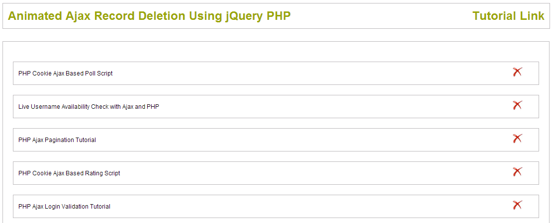 Animated Ajax Record Deletion Using jQuery PHP