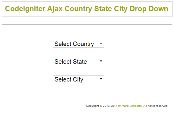 Codeigniter Ajax Country State City Drop Down by Vishal Gupta