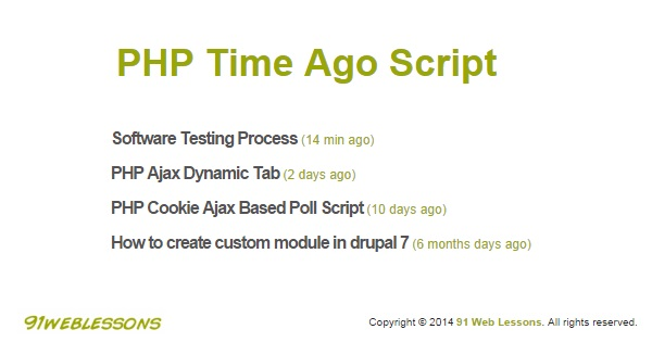 PHP Time Ago Script